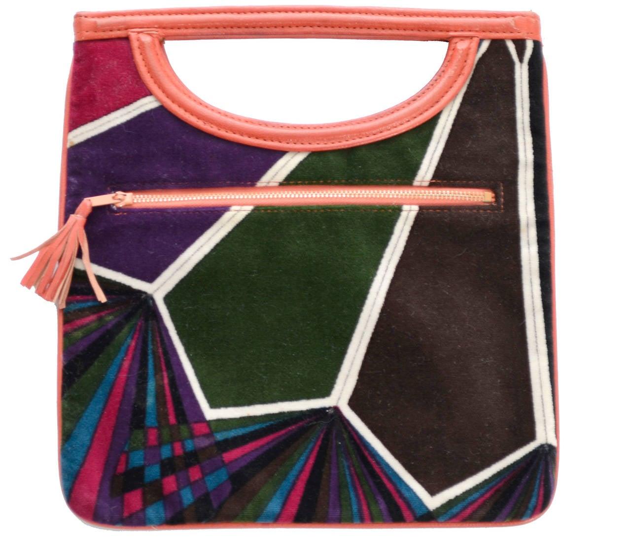 Black 1960s Rare Emilio Pucci Jana Vintage Velvet Handbag Mod Geometric OpArt Rare Bag For Sale
