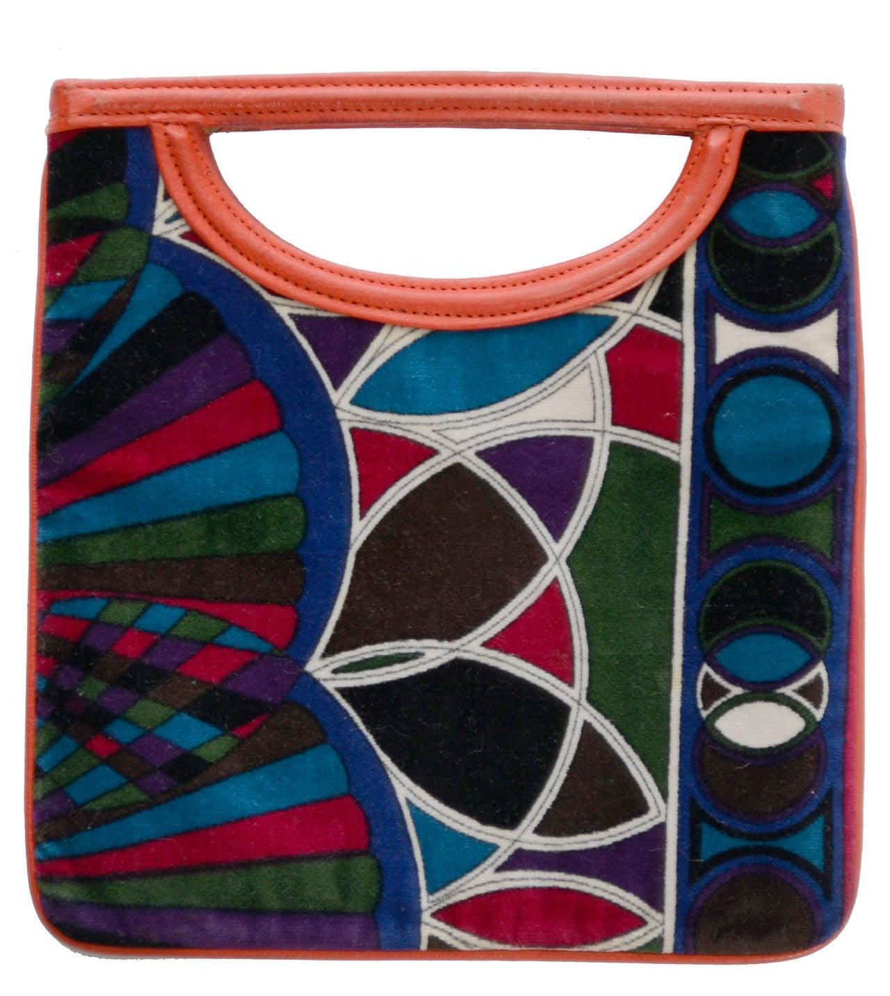 Women's 1960s Rare Emilio Pucci Jana Vintage Velvet Handbag Mod Geometric OpArt Rare Bag For Sale