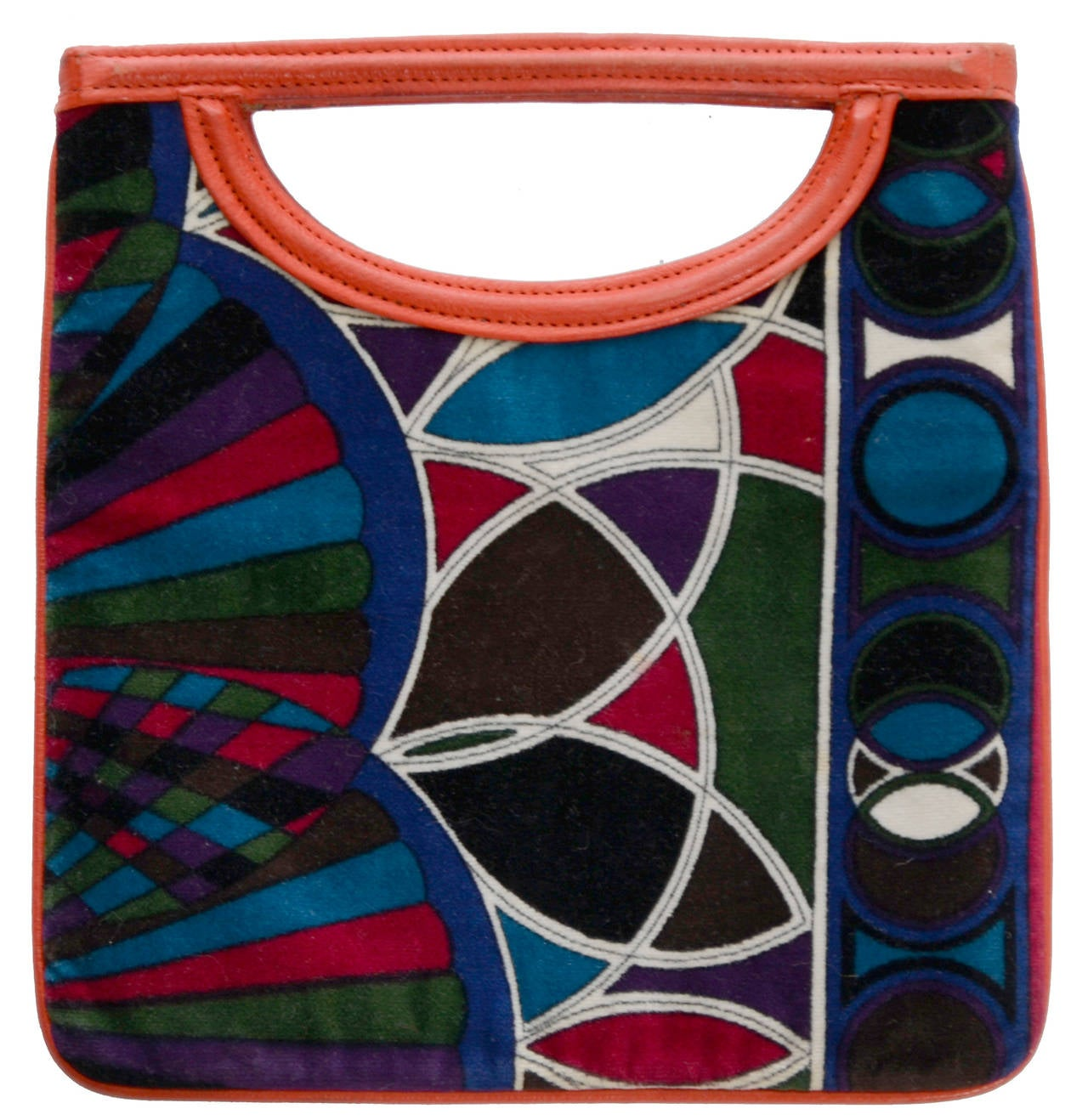 Vintage Emilio Pucci rare multi colored mod geometric op art print velvet handbag with orange leather trim with the Emilio Pucci made by Jana mark.  This gorgeous 1960's handbag measures 8 and 1/2 by 8 inches and was made in Italy.