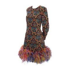 Galanos Designer Vintage Dress Ostrich Feathers 1980s Neiman Marcus