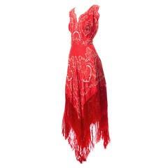 1970s Rare Pauline Trigere Vintage Dress Red Silk Exotic Fringe Signed