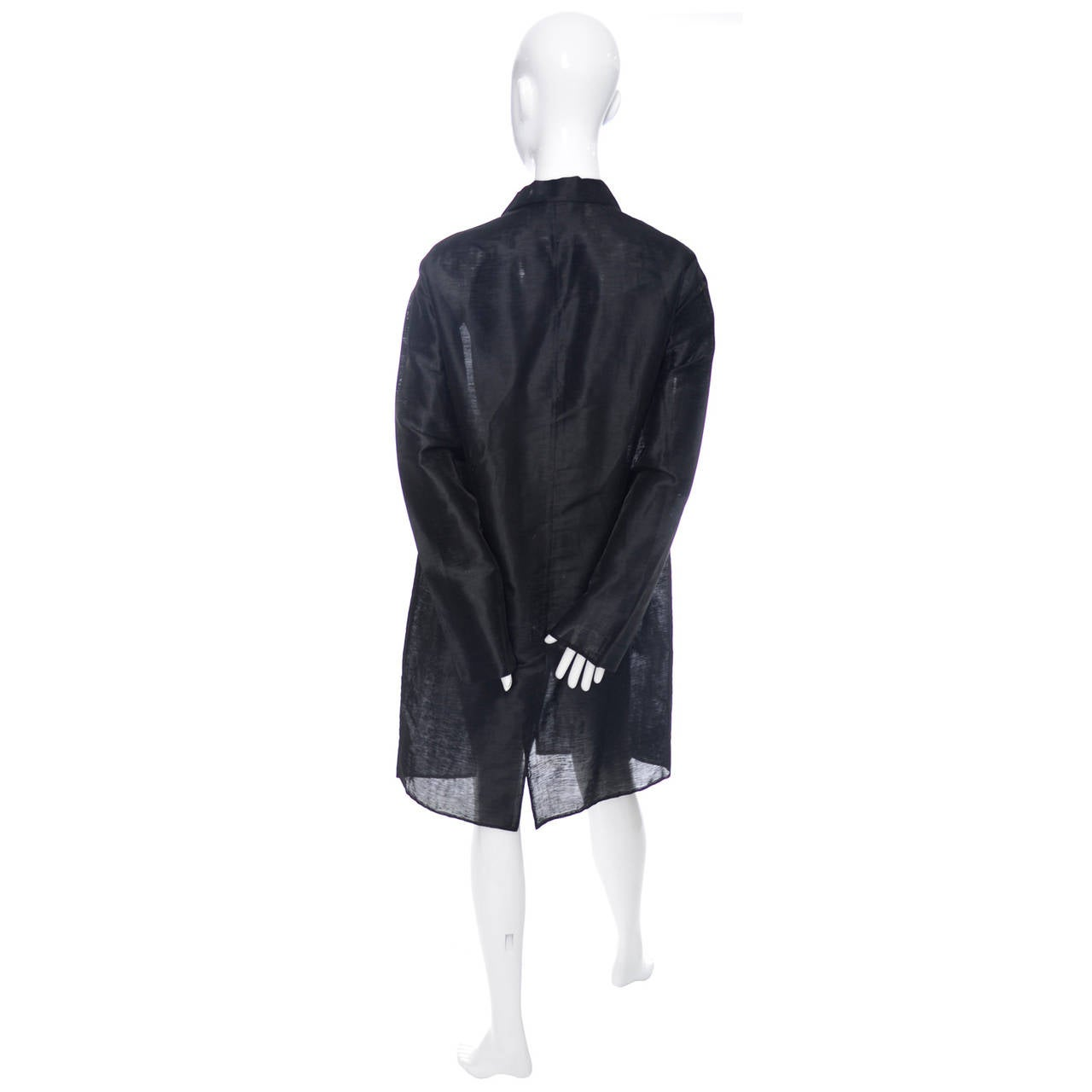 Donna Karan New York Black Label Linen Organza Evening Coat Semi Sheer 2