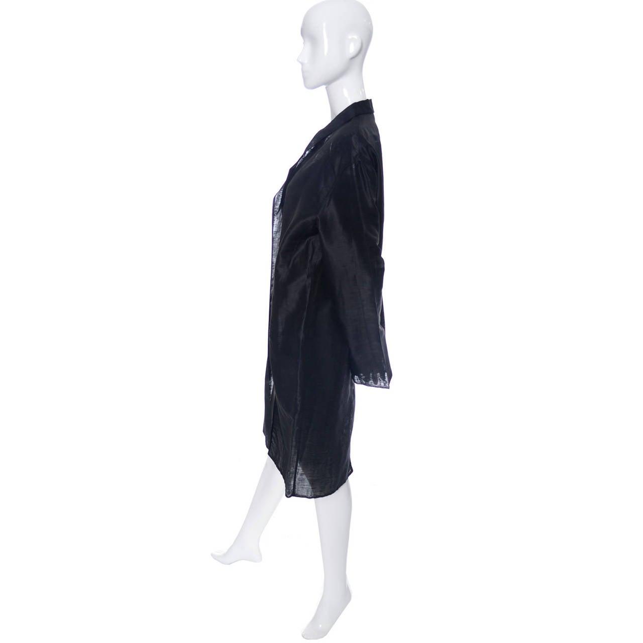 Donna Karan New York Black Label Linen Organza Evening Coat Semi Sheer 1