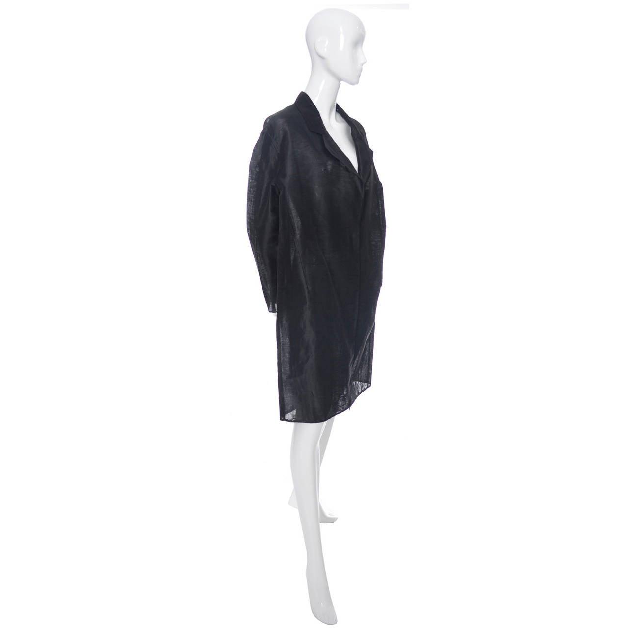 Donna Karan New York Black Label Linen Organza Evening Coat Semi Sheer In Excellent Condition In Portland, OR