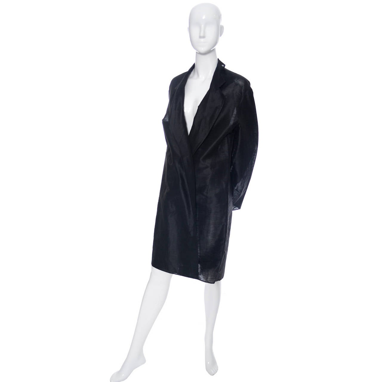 Women's Donna Karan New York Black Label Linen Organza Evening Coat Semi Sheer