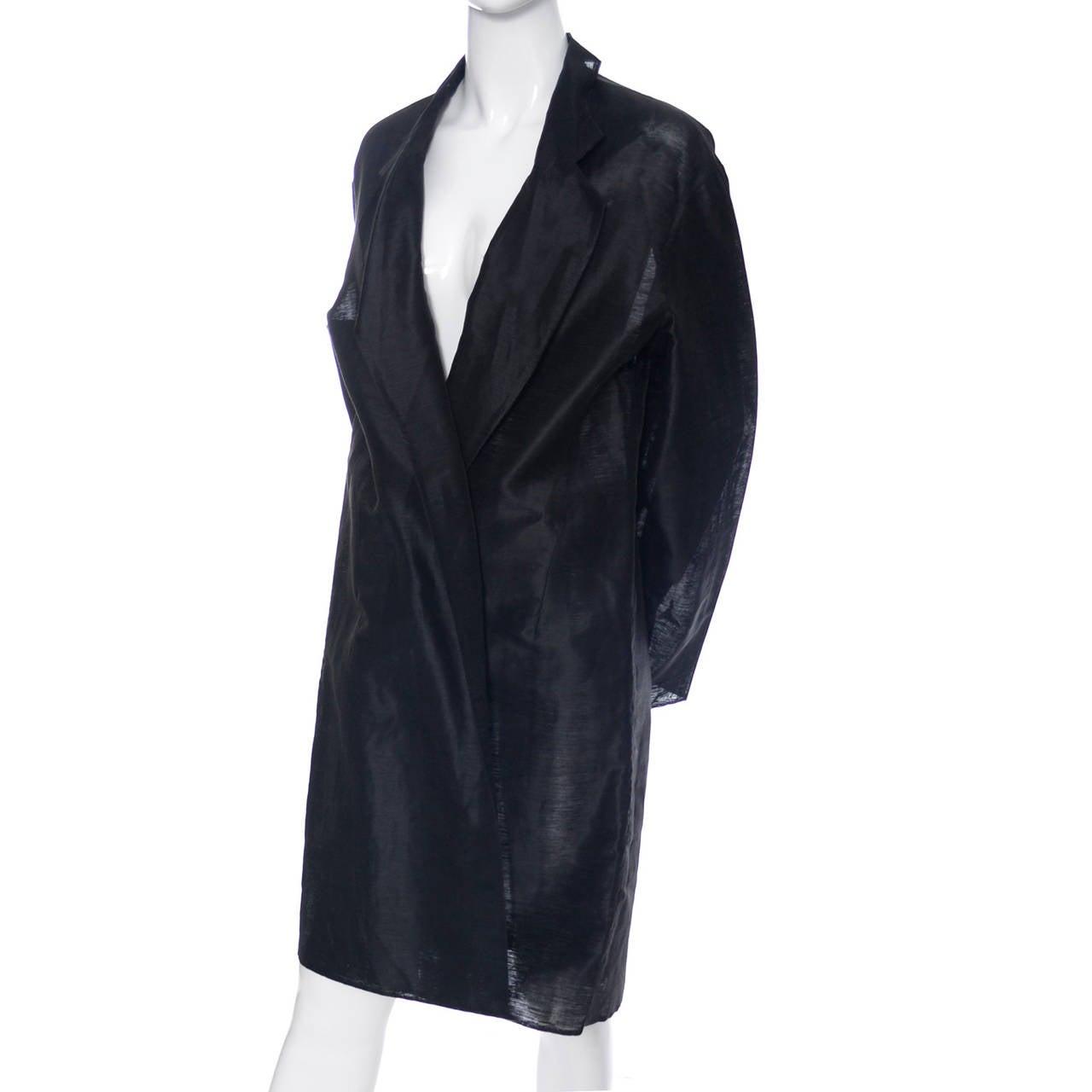 Donna Karan New York Black Label Linen Organza Evening Coat Semi Sheer 3