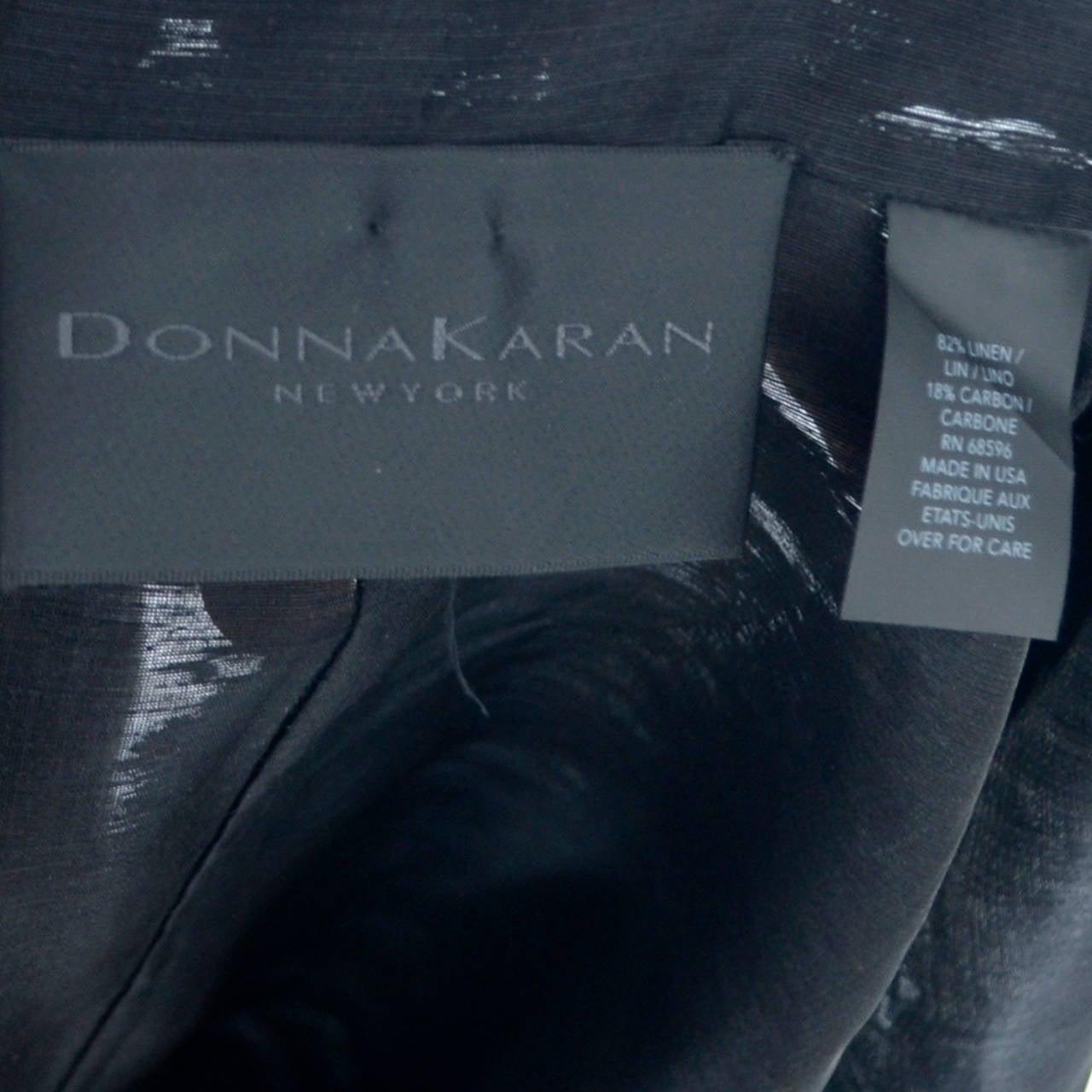 Donna Karan New York Black Label Linen Organza Evening Coat Semi Sheer 4