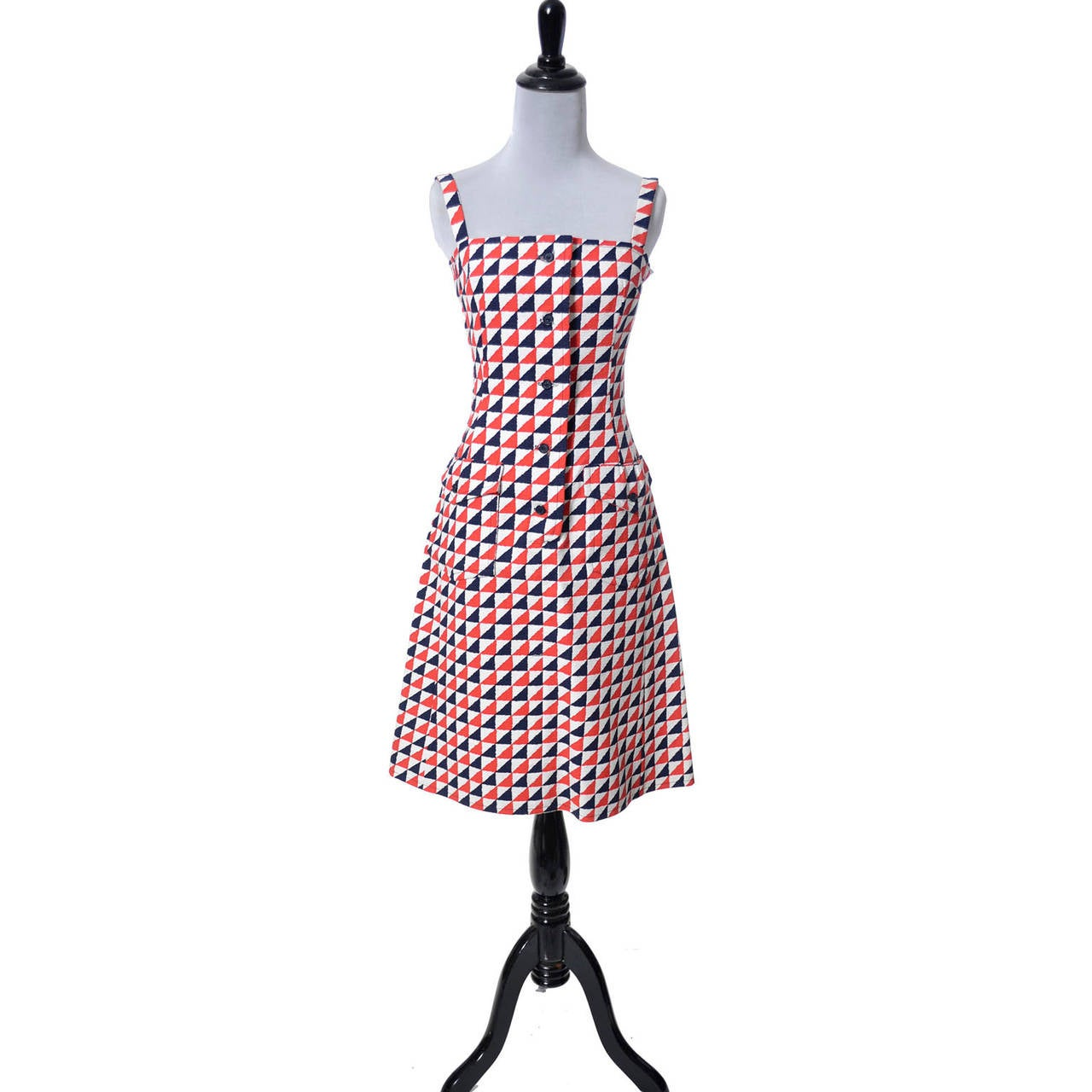 Beige Givenchy Nouvelle Boutique Vintage Dress in Red White & Blue Structured Cotton  For Sale