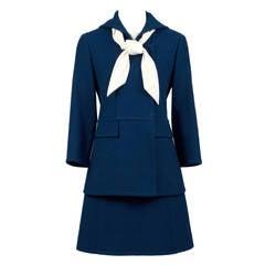 Nina Ricci 1960's Mod Structured Vintage Dress and Coat Suit Ensemble