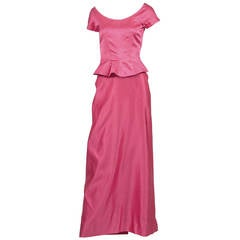 1950s Rare Clare Potter Vintage Pink Long Evening Gown Documented