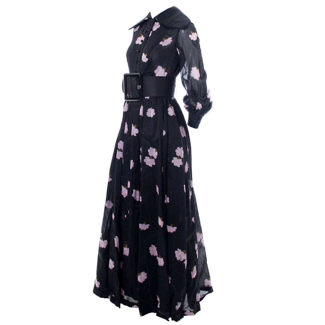 Geoffrey Beene Vintage Black and Pink Floral Print Long Dress, 1960s