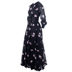 1960s Geoffrey Beene Vintage Dress in Pink & Black Floral Print Organza w/ Belt