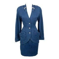 Thierry Mugler 1980's Designer Vintage Suit Denim Skirt & Blazer W Buckles