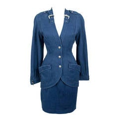 Thierry Mugler 1980's Designer Vintage Suit Denim Skirt Blazer Buckles