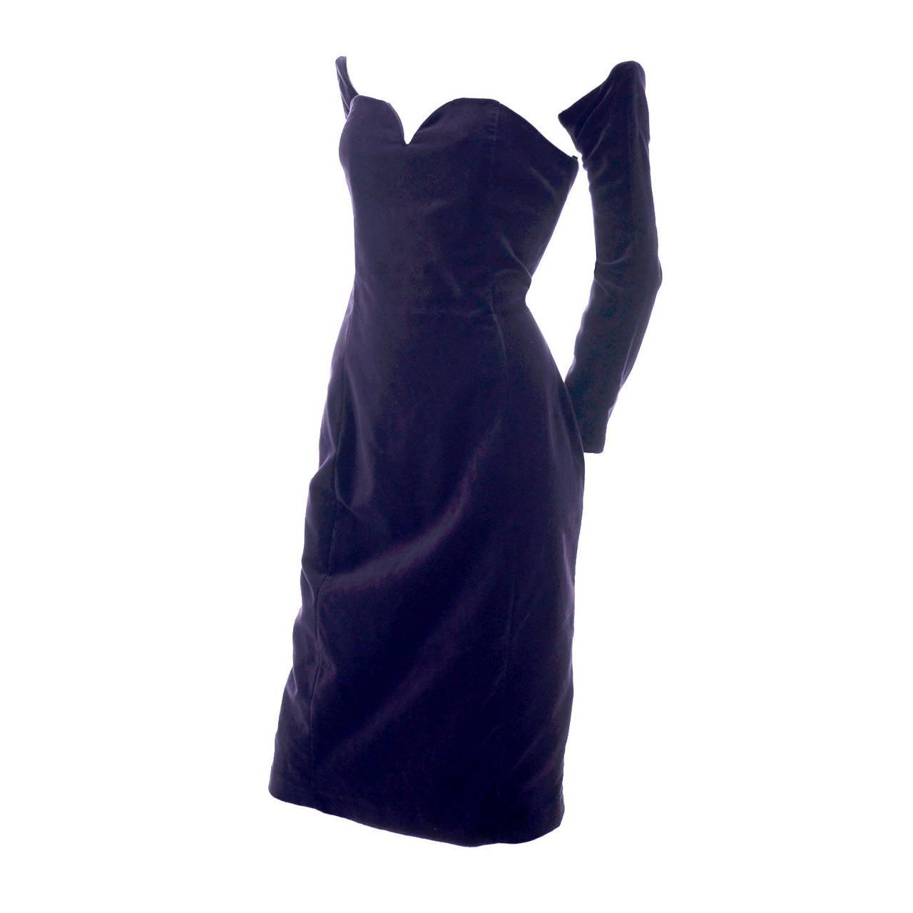 Travilla Purple Velvet Vintage Cocktail Dress Detached Sleeves Opera Gloves 1980 1
