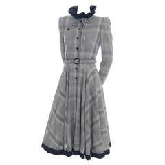 Vintage Valentino Boutique Plaid Wool Vintage Dress Full Skirt Belt As New