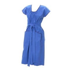 YSL 1970s Vintage Yves Saint Laurent Peasant Dress in Blue Cotton W/ Pockets