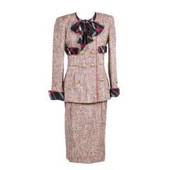 1985 Chanel Runway Tweed With Skirt Blazer & Silk Blouse Red White & Blue Plaid