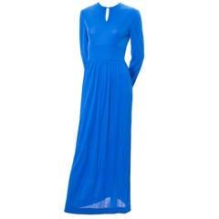 Vintage Emilio Pucci Silk Long Dress 1960s Italy Blue Maxi