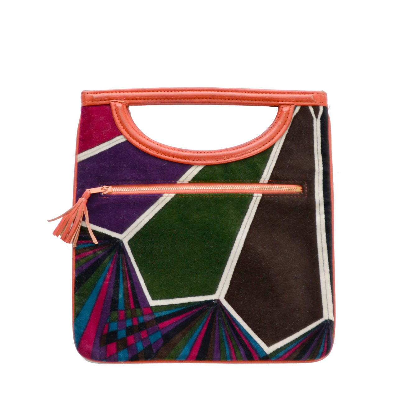 1960s Rare Emilio Pucci Jana Vintage Velvet Handbag Mod Geometric OpArt Rare Bag For Sale