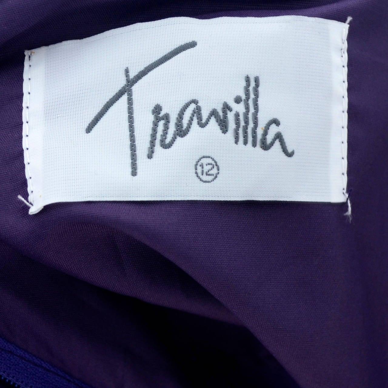 Travilla Purple Velvet Vintage Cocktail Dress Detached Sleeves Opera Gloves 1980 7
