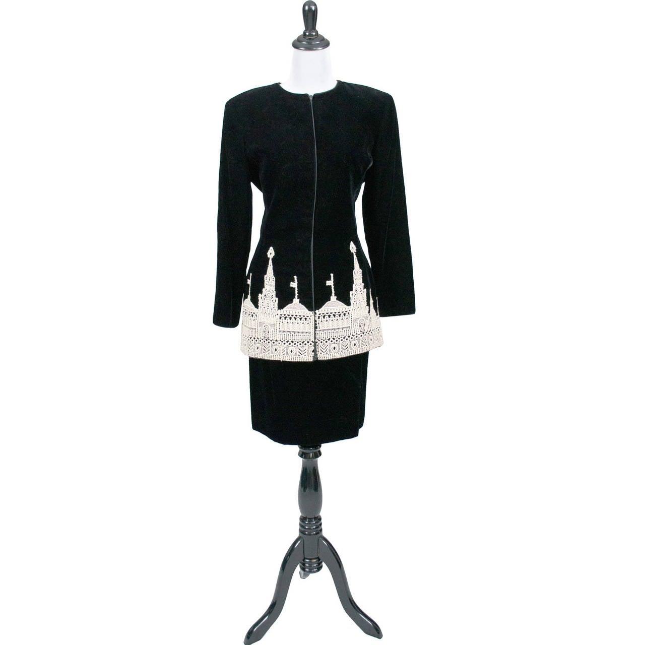 Valentino boutique black silk velvet skirt suit figural