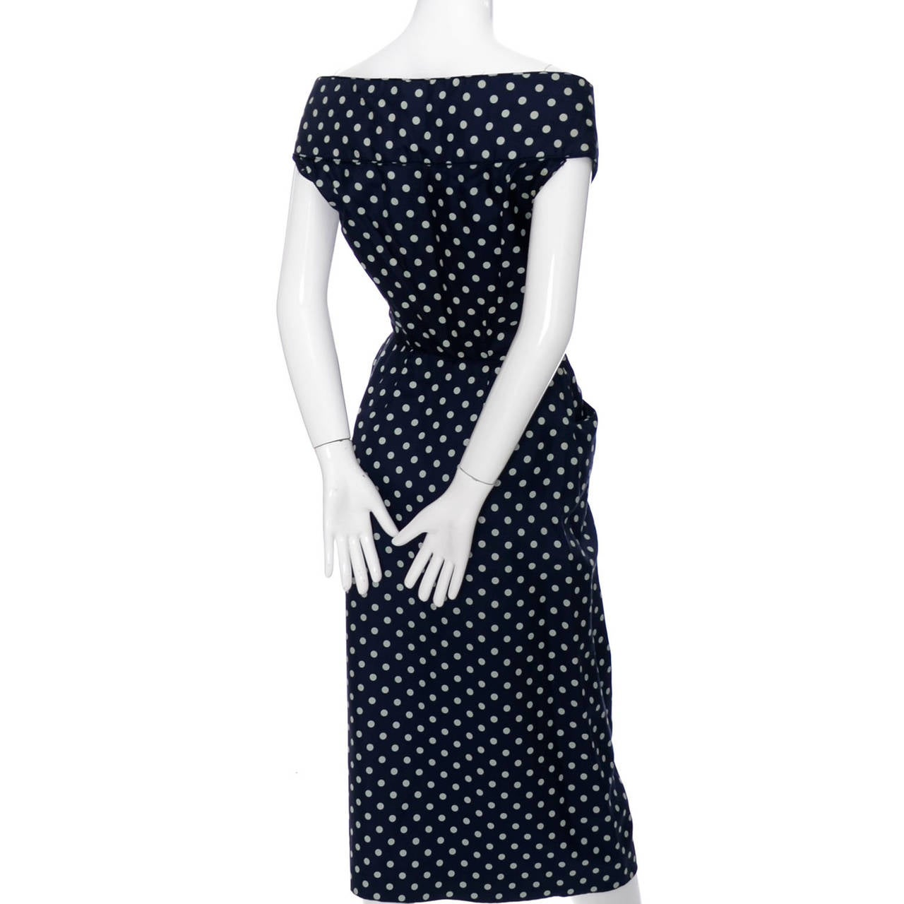 1950s Ceil Chapman Silk Vintage Dress Navy Blue Polka Dots