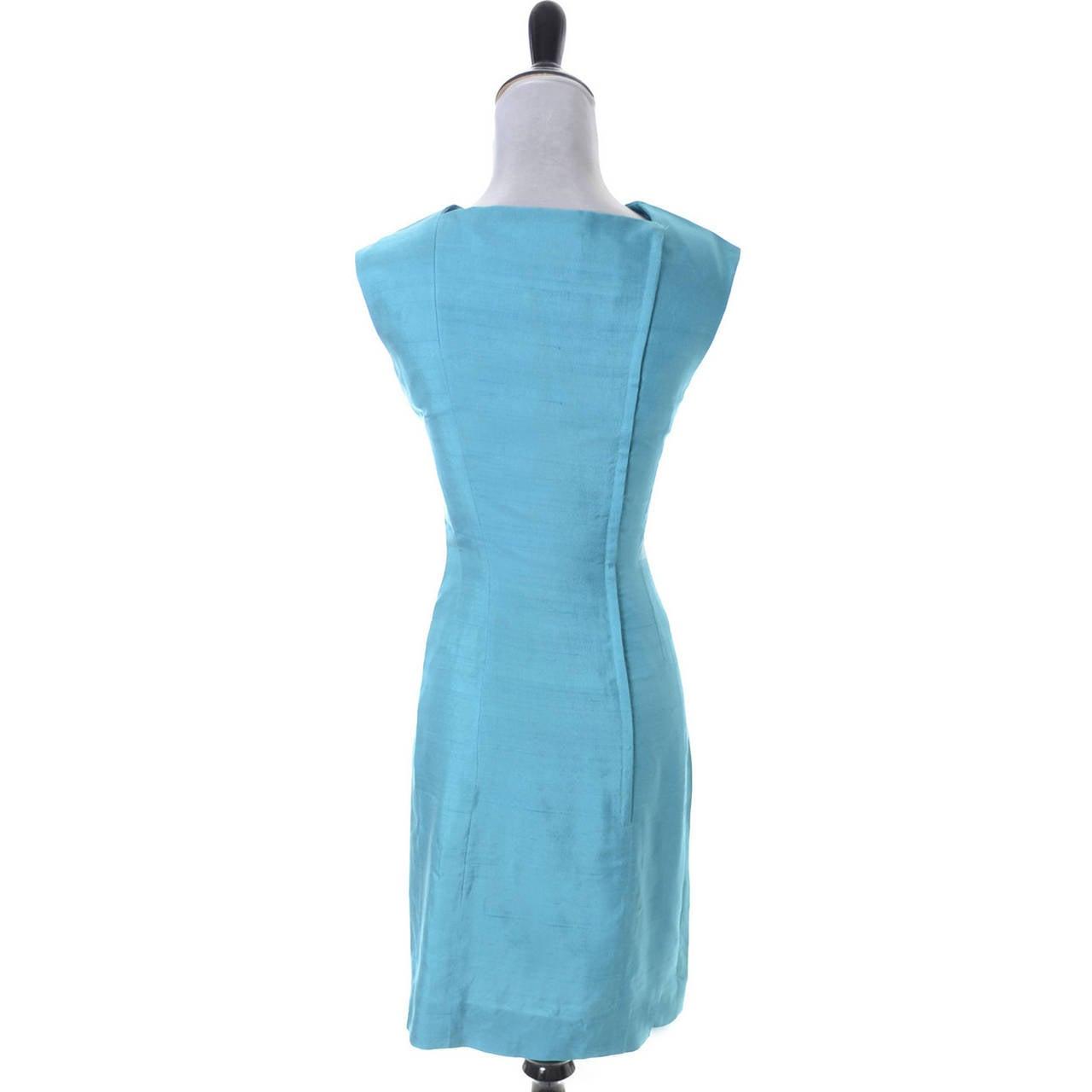 Blue Silk Vintage Estevez Designer Dress Keyhole 1960s 3
