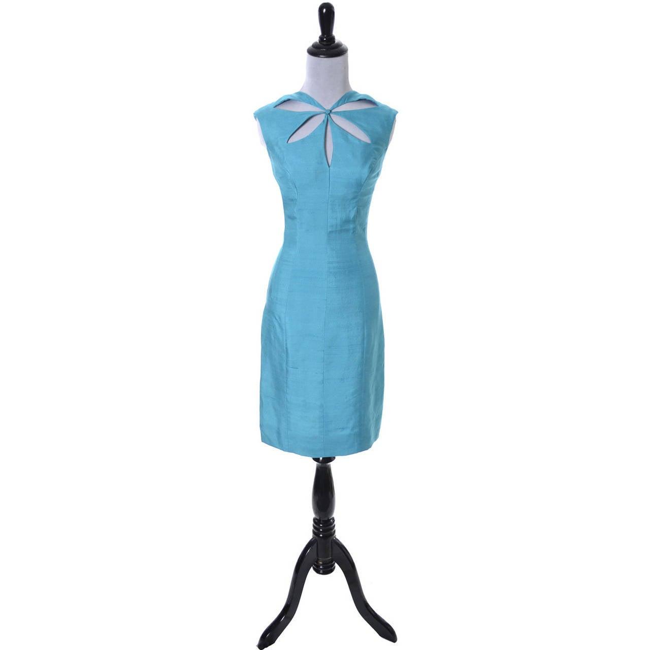 Blue Silk Vintage Estevez Designer Dress Keyhole 1960s 2