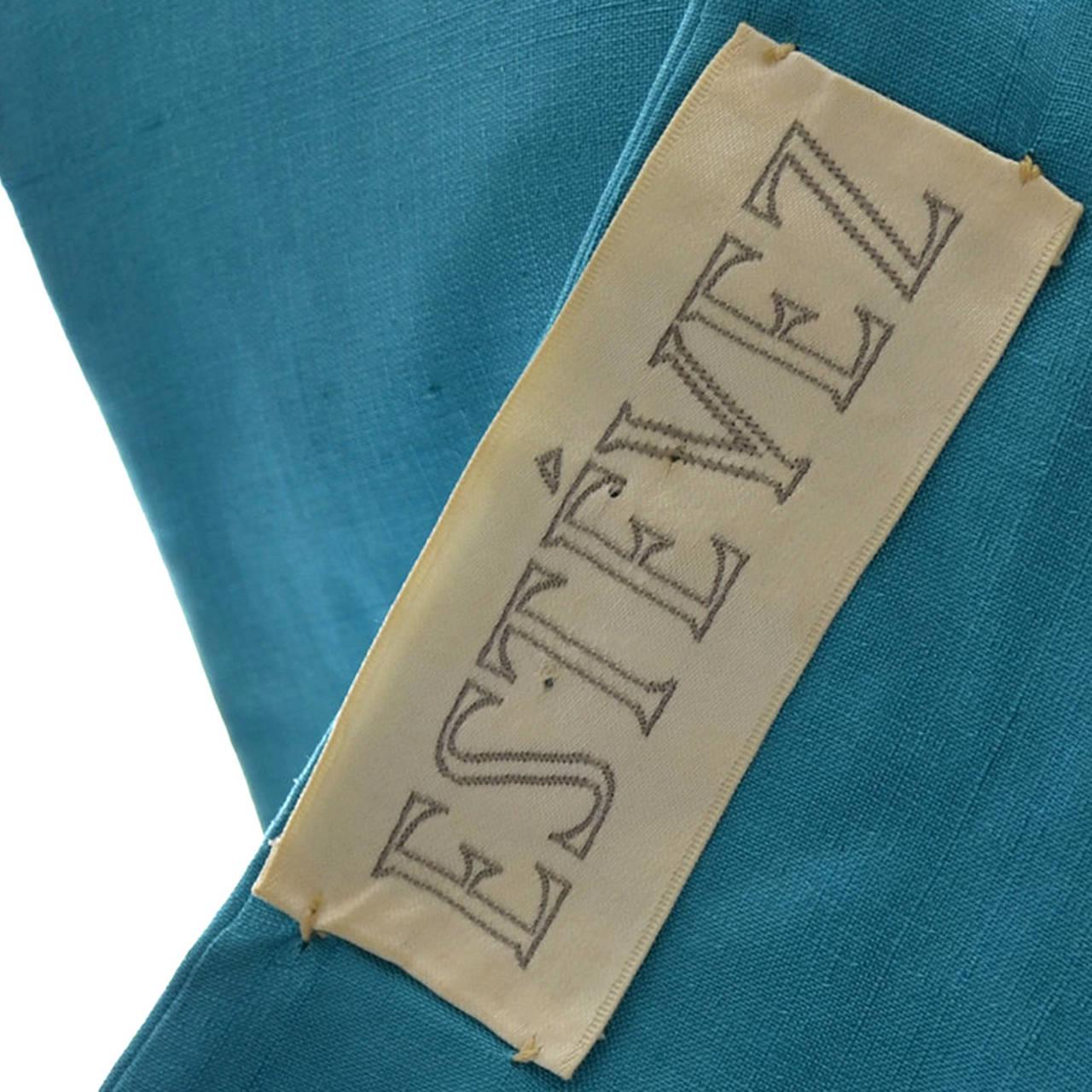 Blue Silk Vintage Estevez Designer Dress Keyhole 1960s 5