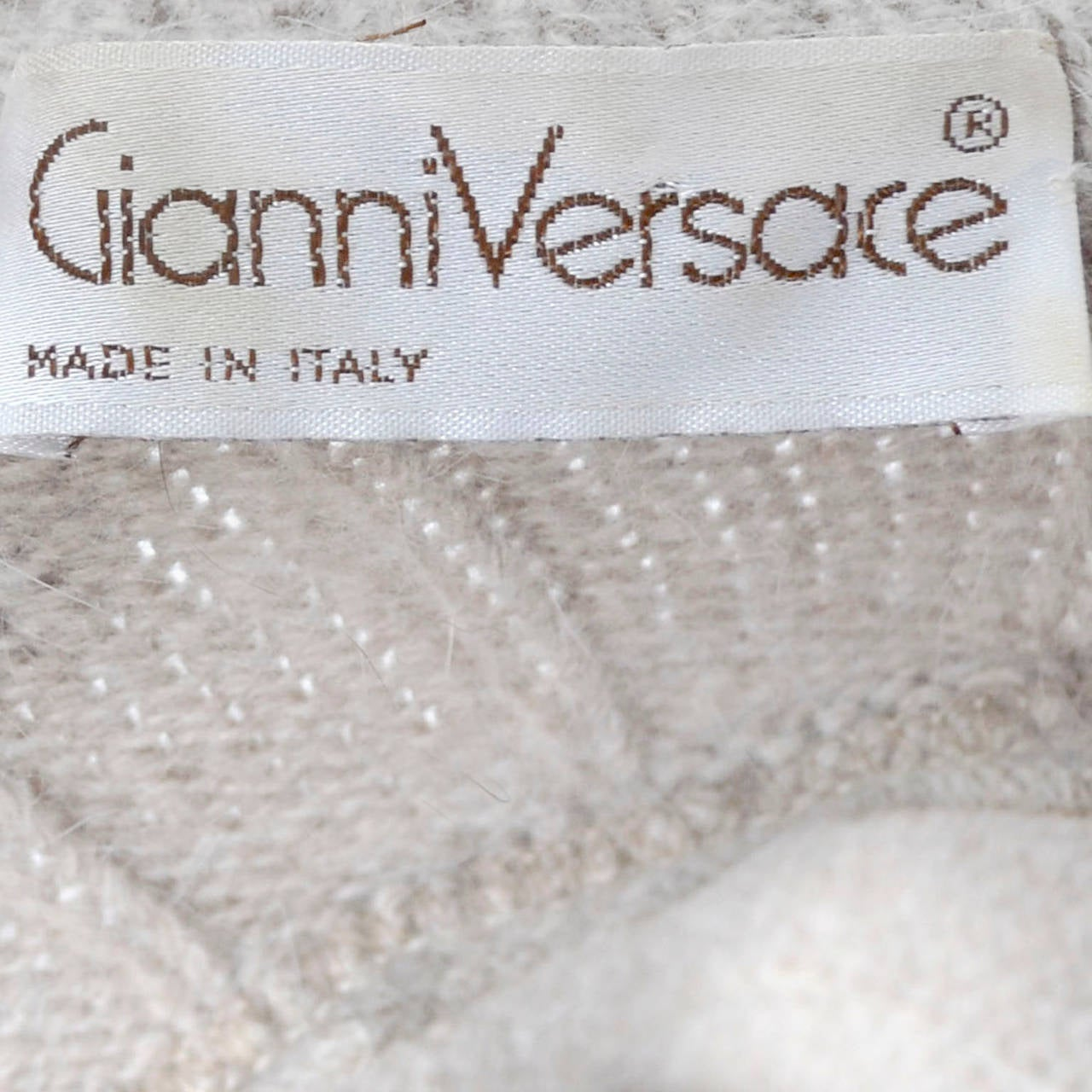 Gianni Versace Vintage Sweater Wool 2 Pc Shawl Collar Scarf Asymmetical In Excellent Condition For Sale In Portland, OR