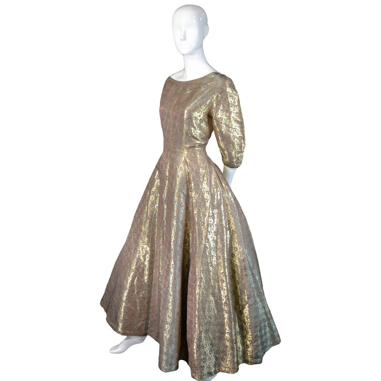Hattie Carnegie 1950s Vintage Dress Gold Metallic Lame Blue Floral Evening Gown 5