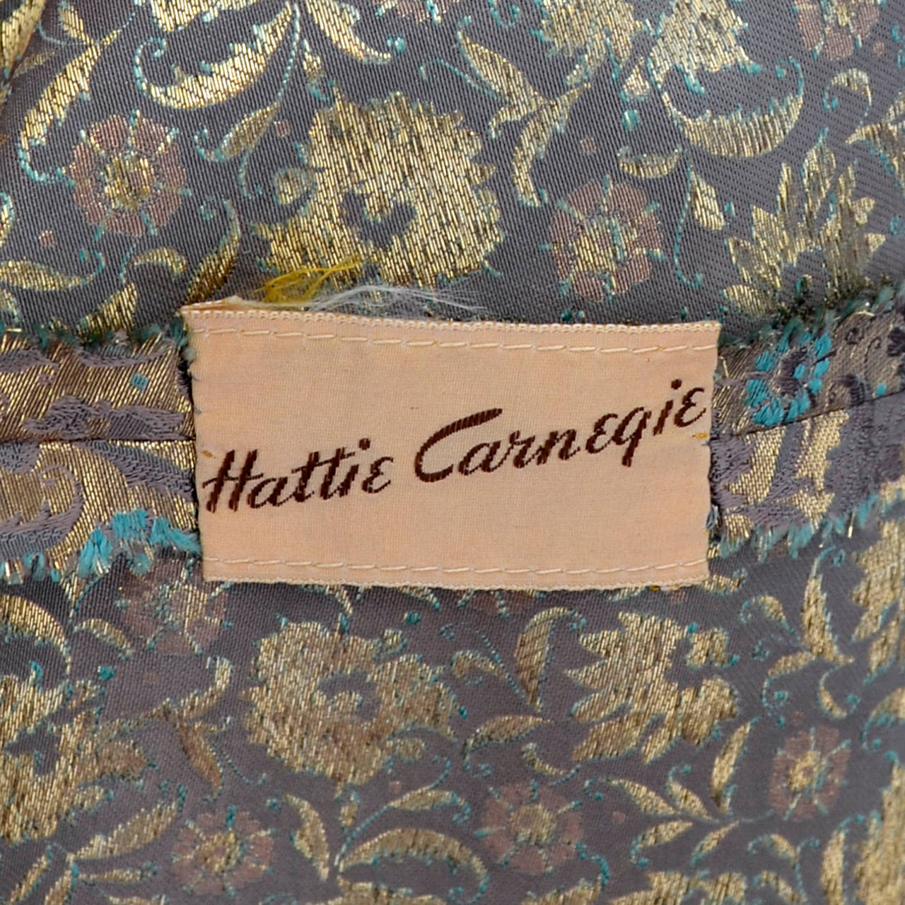 Hattie Carnegie 1950s Vintage Dress Gold Metallic Lame Blue Floral Evening Gown 8