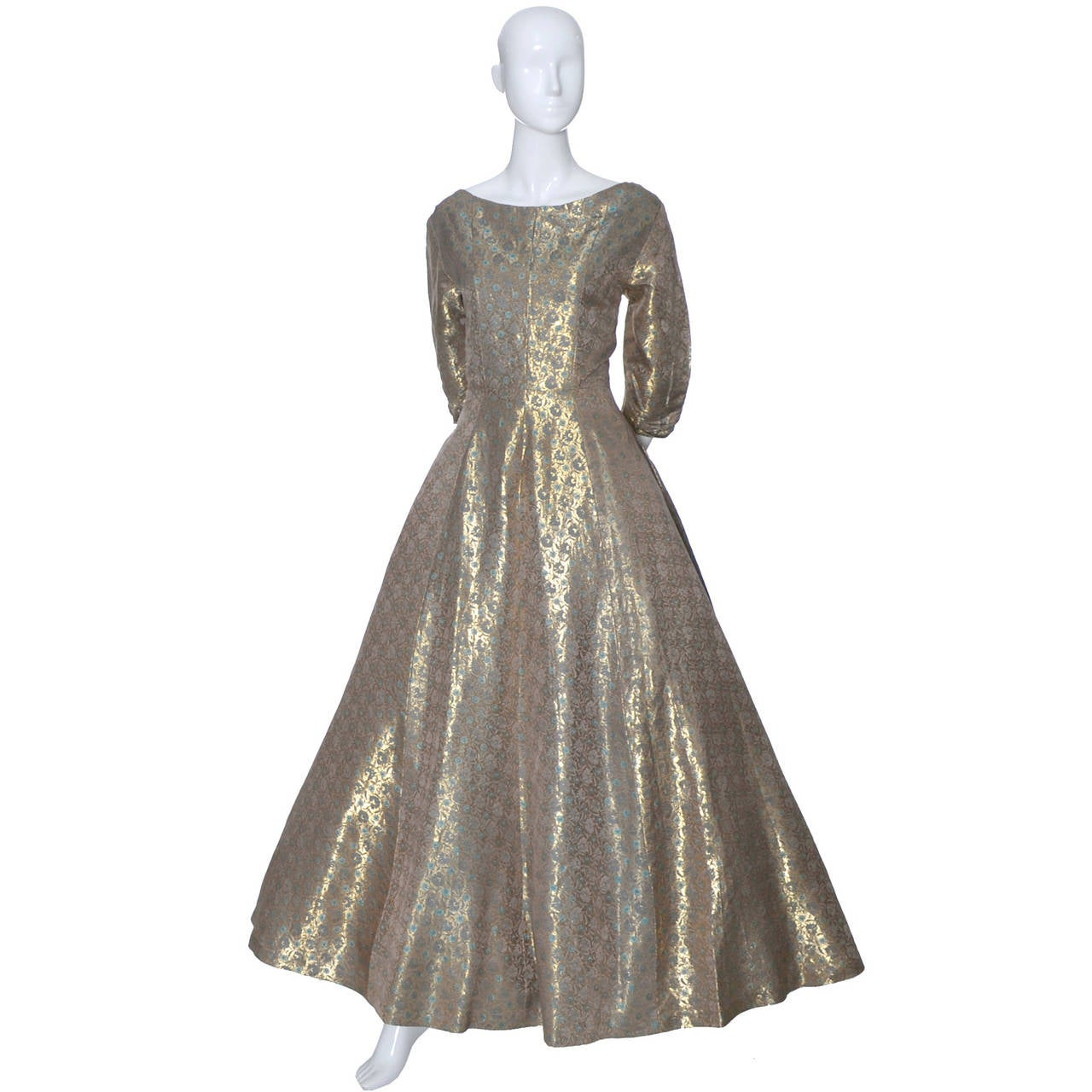 Hattie Carnegie 1950s Vintage Dress Gold Metallic Lame Blue Floral Evening Gown 2