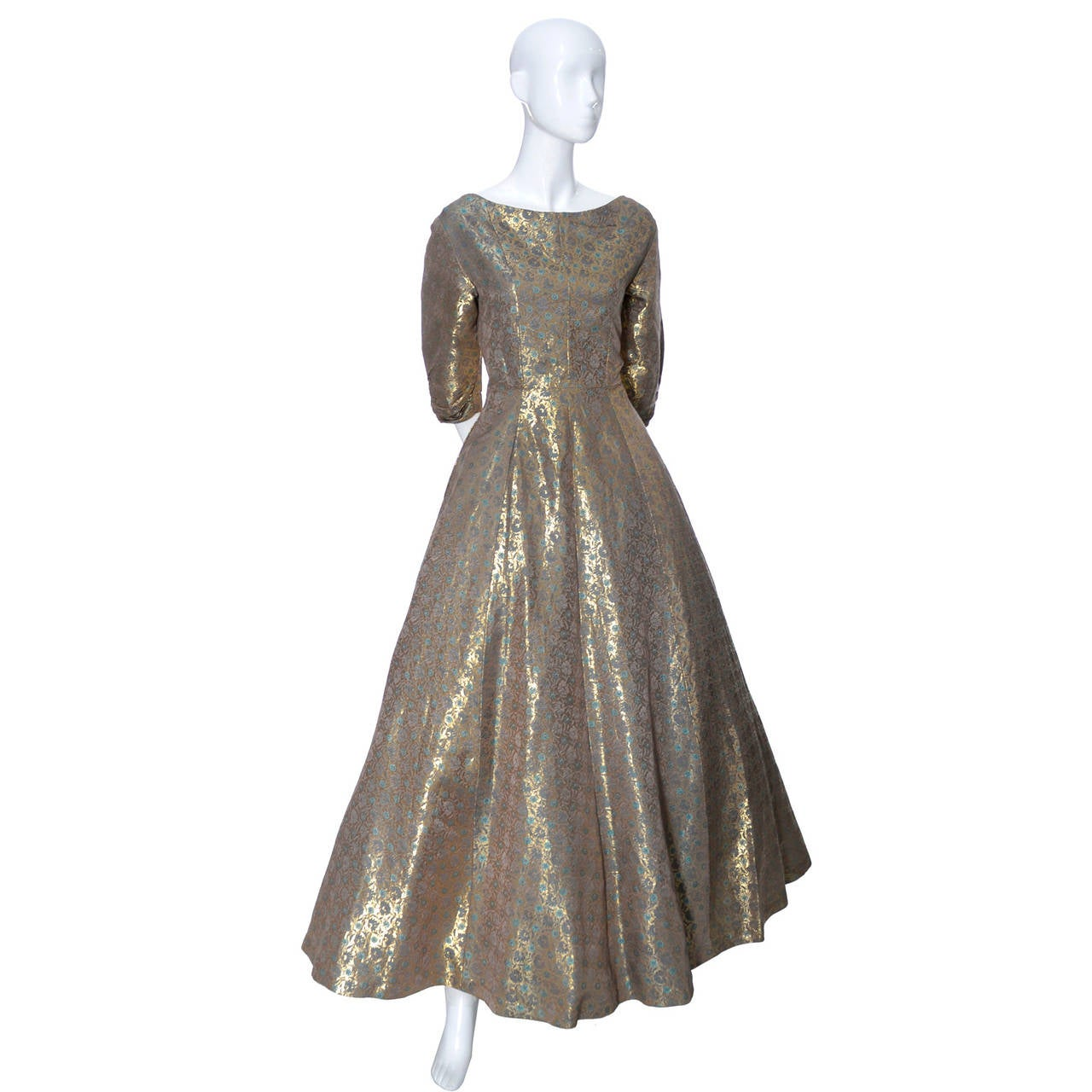 Hattie Carnegie 1950s Vintage Dress Gold Metallic Lame Blue Floral Evening Gown 4