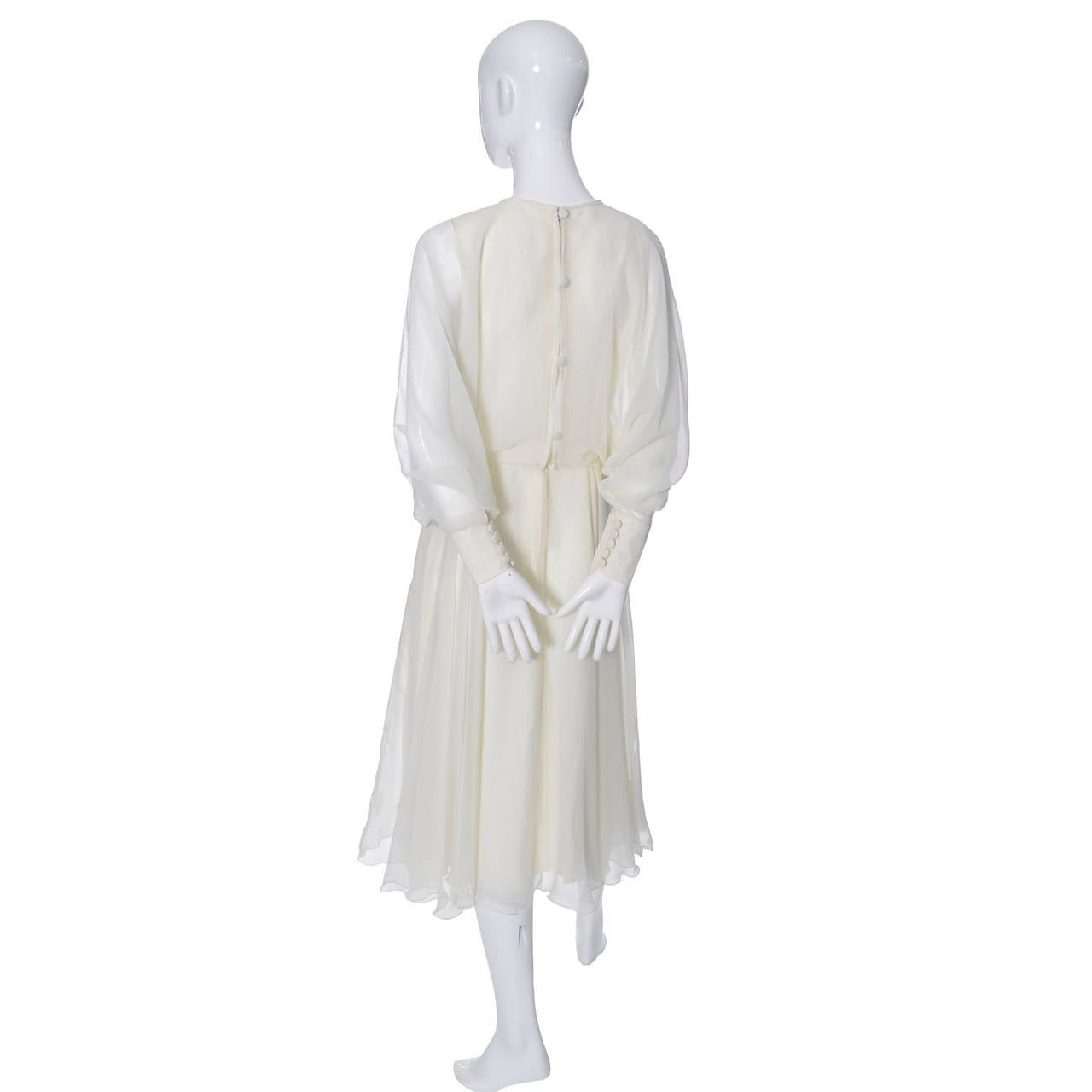 Gray 1970s Vintage Jean Varon John Bates Chiffon Designer Dress Batwing Sleeves For Sale