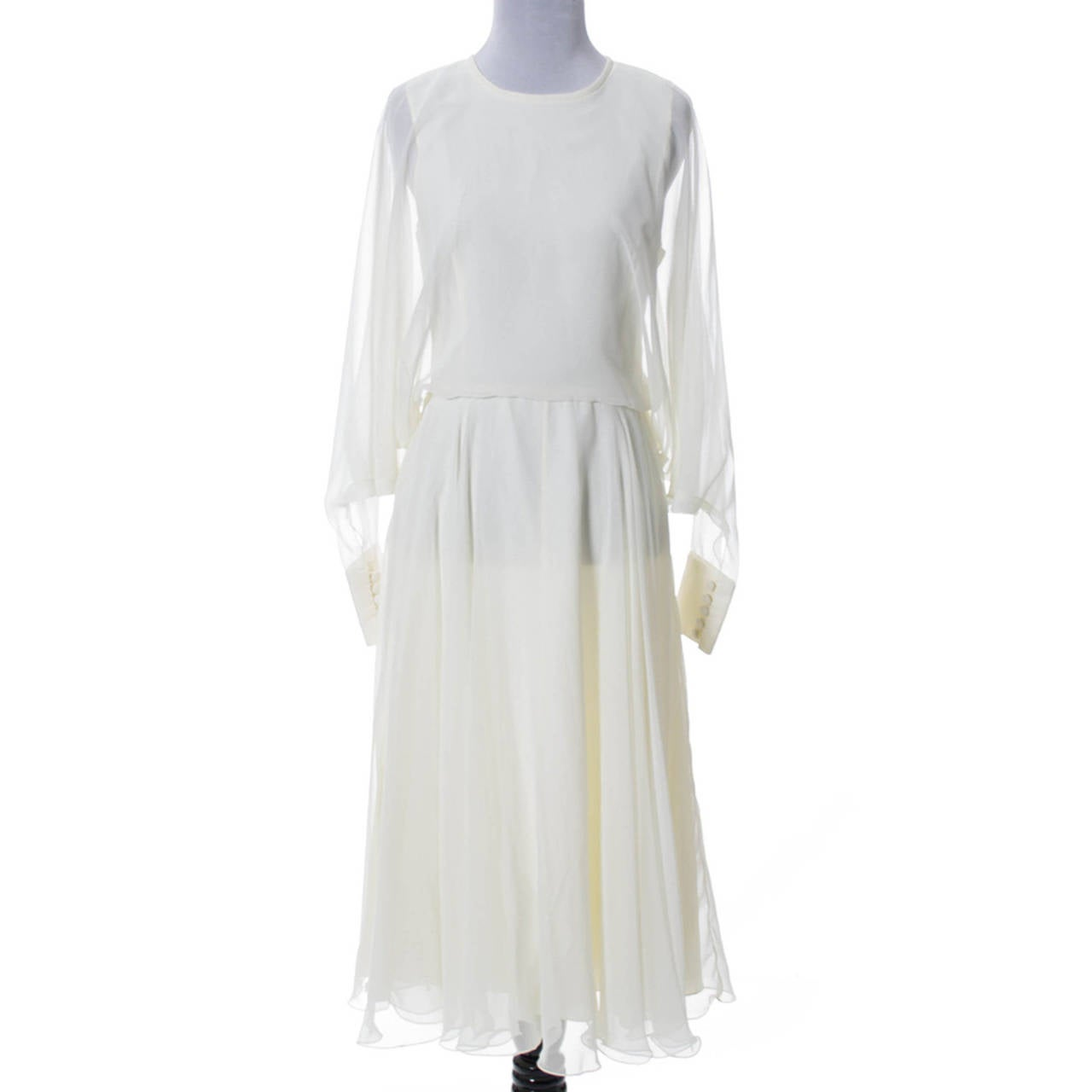 1970s Vintage Jean Varon John Bates Chiffon Designer Dress Batwing Sleeves For Sale 3