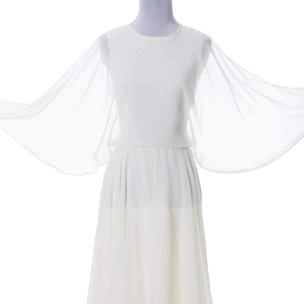 Women's 1970s Vintage Jean Varon John Bates Chiffon Designer Dress Batwing Sleeves For Sale