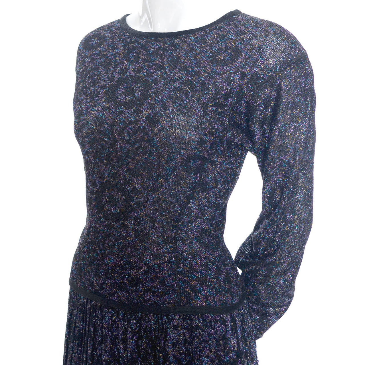 Missoni Metallic Sparkle Vintage Skirt Top Evening Outfit Saks Fifth Avenue In Good Condition For Sale In Portland, OR