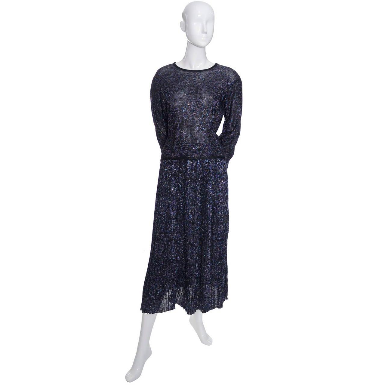Black Missoni Metallic Sparkle Vintage Skirt Top Evening Outfit Saks Fifth Avenue For Sale