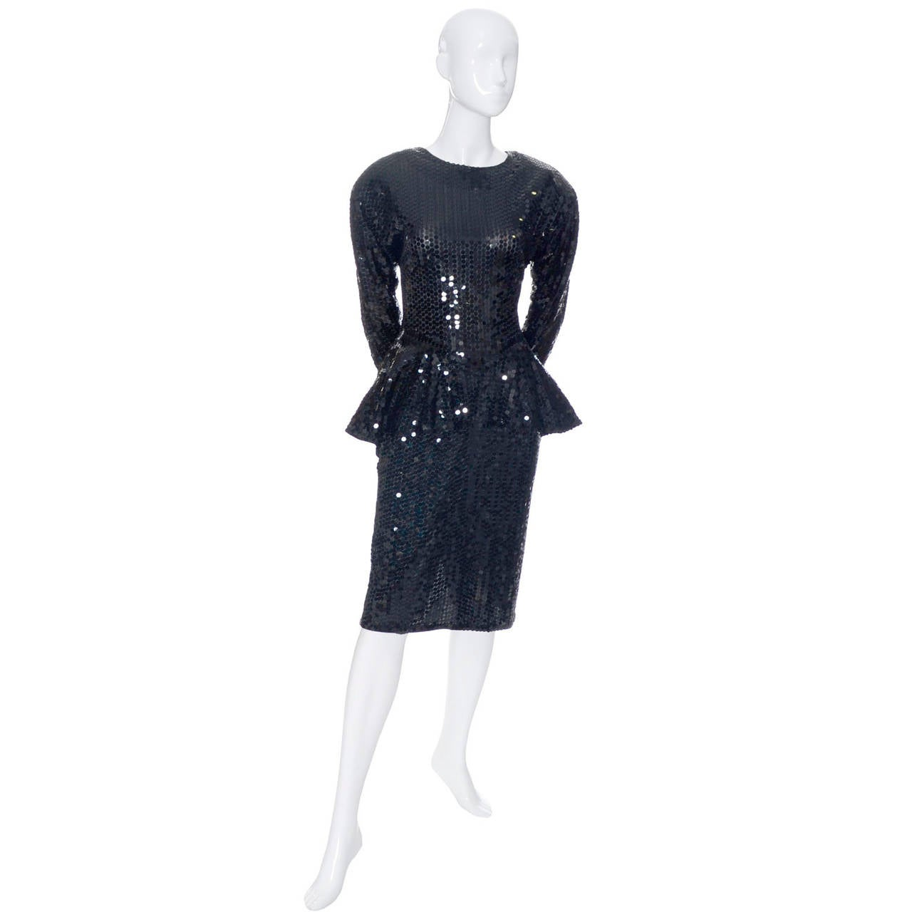 Oleg Cassini Vintage Dress Black Sequins Peplum 1980s Evening In Excellent Condition For Sale In Portland, OR