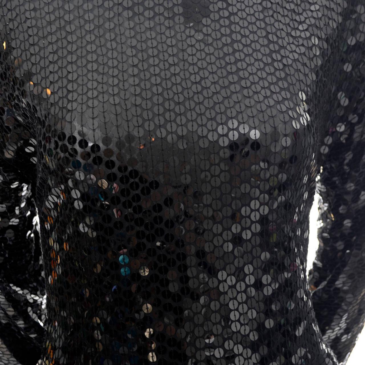Oleg Cassini Vintage Dress Black Sequins Peplum 1980s Evening For Sale 1