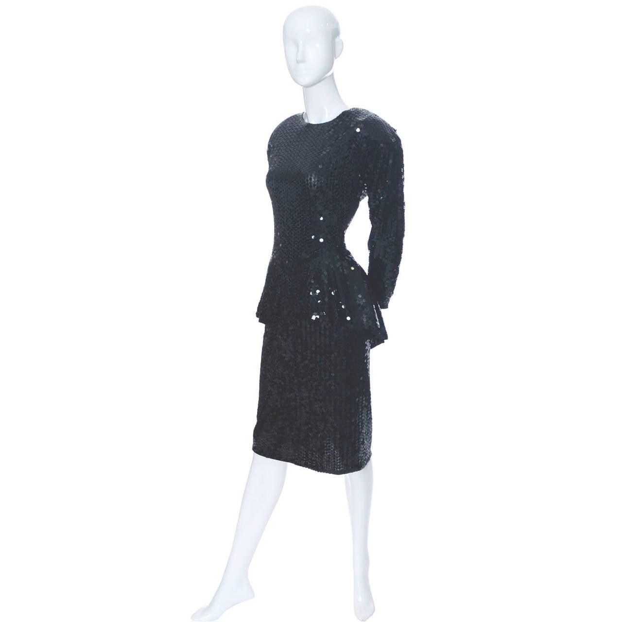 Women's Oleg Cassini Vintage Dress Black Sequins Peplum 1980s Evening For Sale