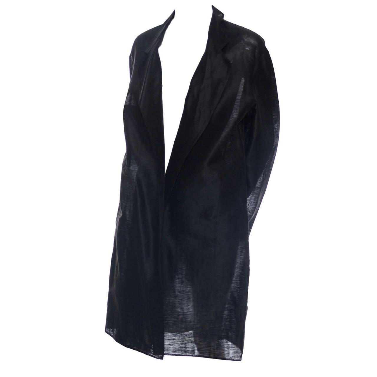 Donna Karan New York Black Label Linen Organza Evening Coat Semi Sheer