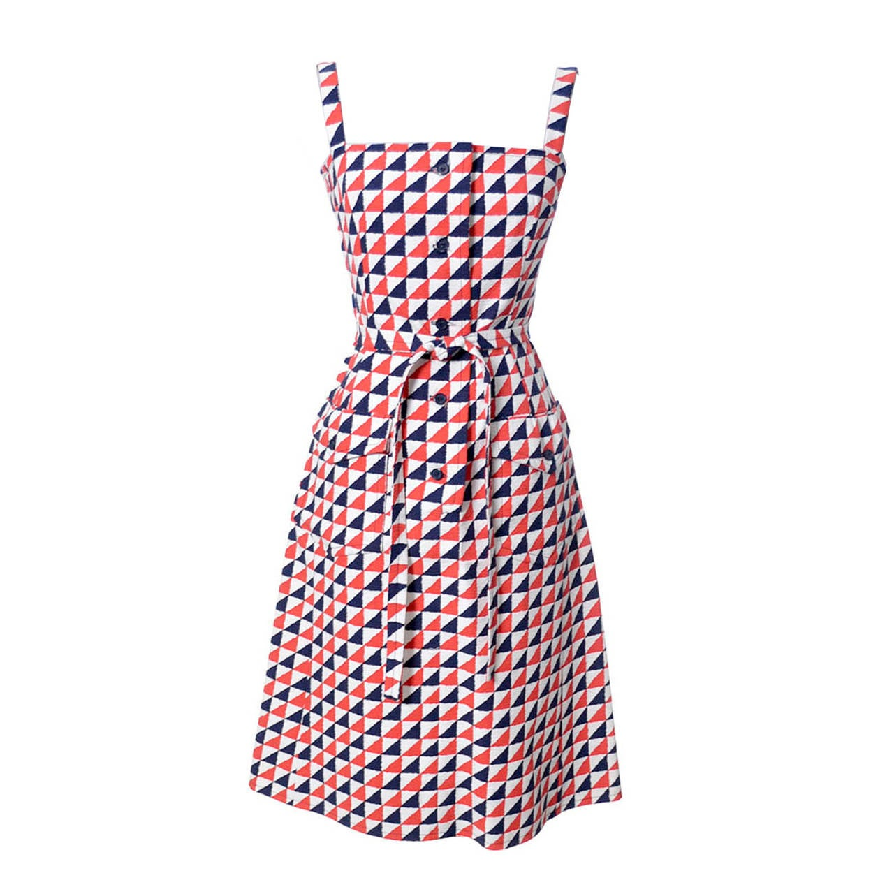 Givenchy Nouvelle Boutique Vintage Dress in Red White & Blue Structured Cotton  For Sale