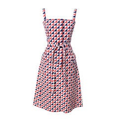 Givenchy Nouvelle Boutique Vintage Dress in Red White & Blue Structured Cotton