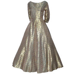 Hattie Carnegie 1950s Vintage Dress Gold Metallic Lame Blue Floral Evening Gown
