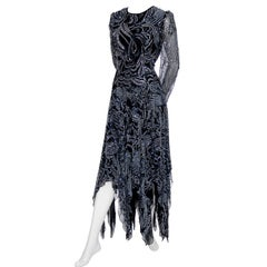 1980s Terence Nolder Vintage Dress w Handkerchief Hem in Metallic Sparkle Fabric