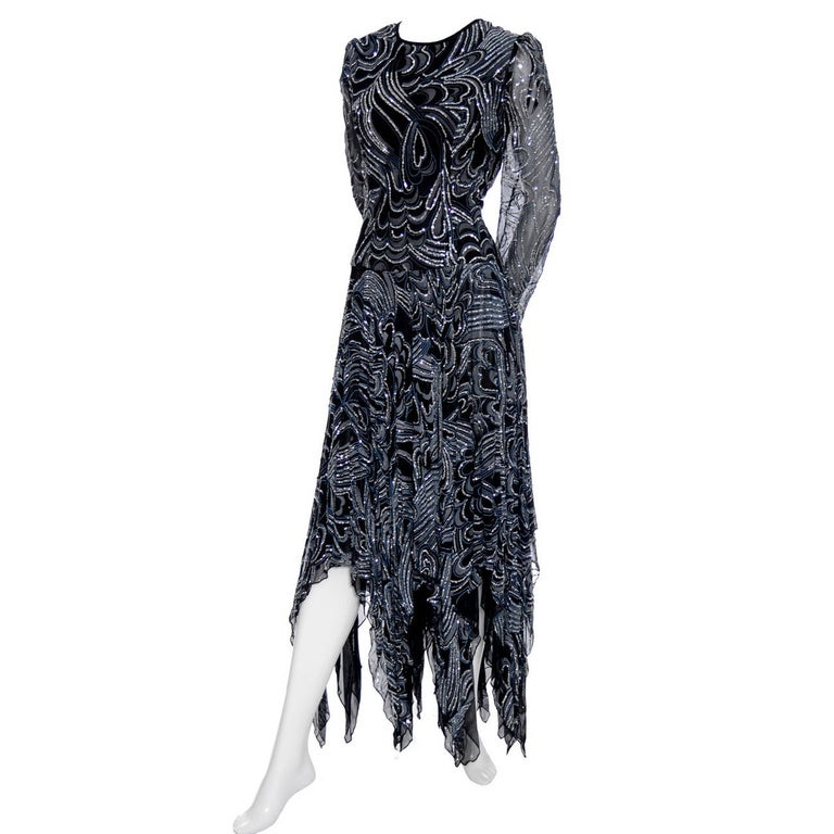 1980s Terence Nolder Vintage Dress w Handkerchief Hem in Metallic Sparkle Fabric For Sale