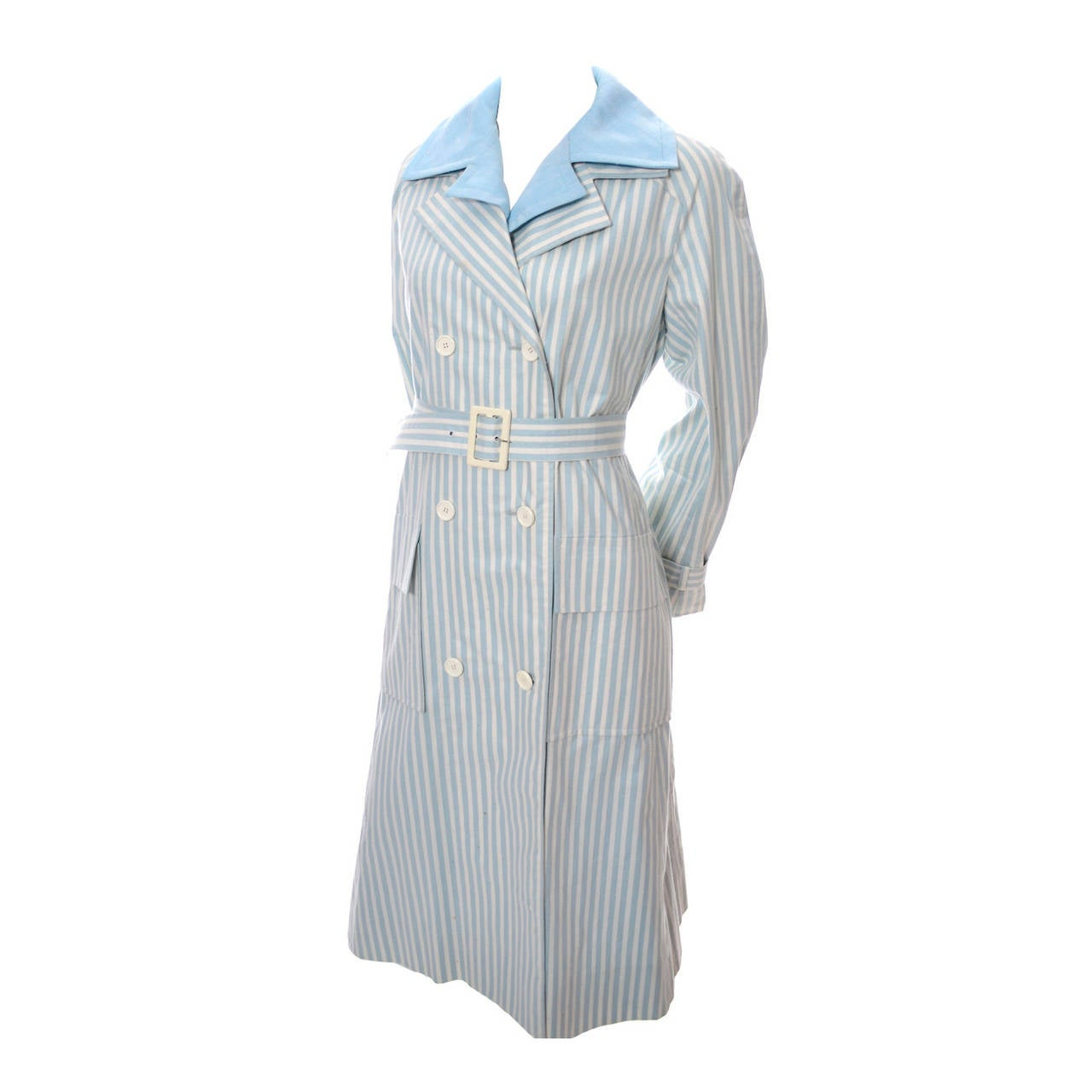 Givenchy Nouvelle Boutique 1970s Blue Vintage Dress and Striped Coat Outfit 1